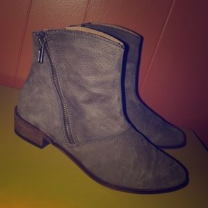 Kelsi Dagger Brown Nubuck Leather Zip Ankle Boots